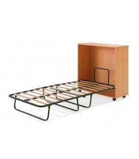 Cama plegable en un mueble de madera con puertas y ruedas for Camas plegables con mueble