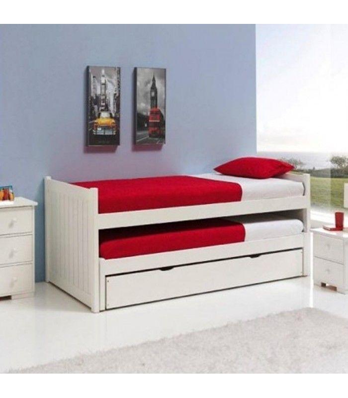 cama nido en pino macizo con dos camas simples y un caj n ForCama Nido Dos Camas