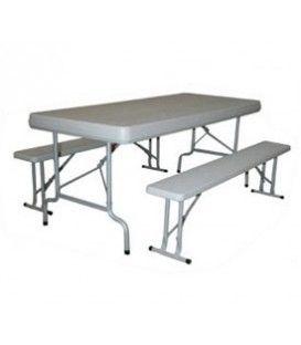 Conjunto plegable de mesa y bancos