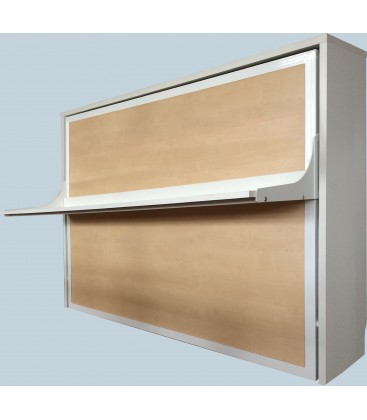 Cama de madera  abatible en horizontal con escritorio