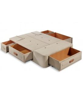 Canape Tapizado con 5 Cajones Exteriores