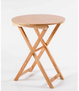 Mesa plegable redonda de madera de haya