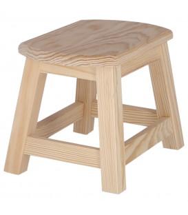 Taburete pequeño de madera de pino