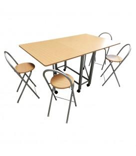 Conjunto mesa extensible con 4 taburetes